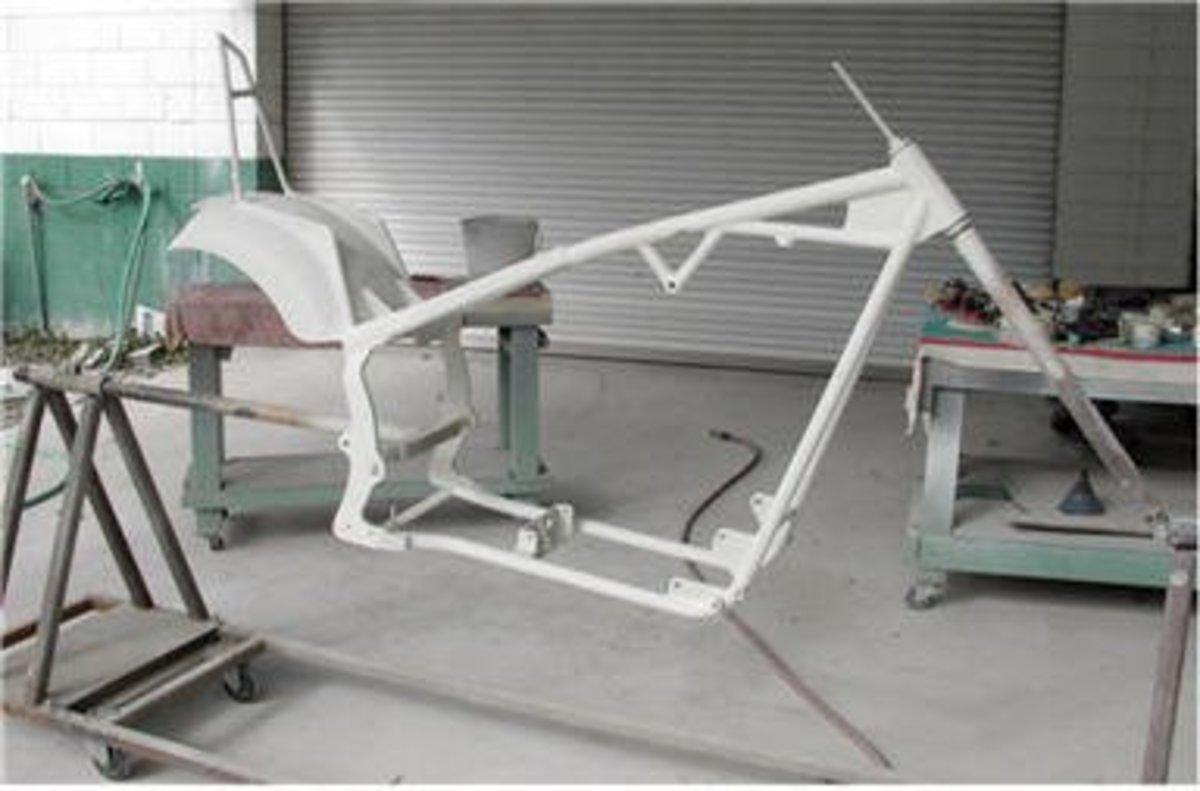Primed Chopper Frame - Ready For paint.