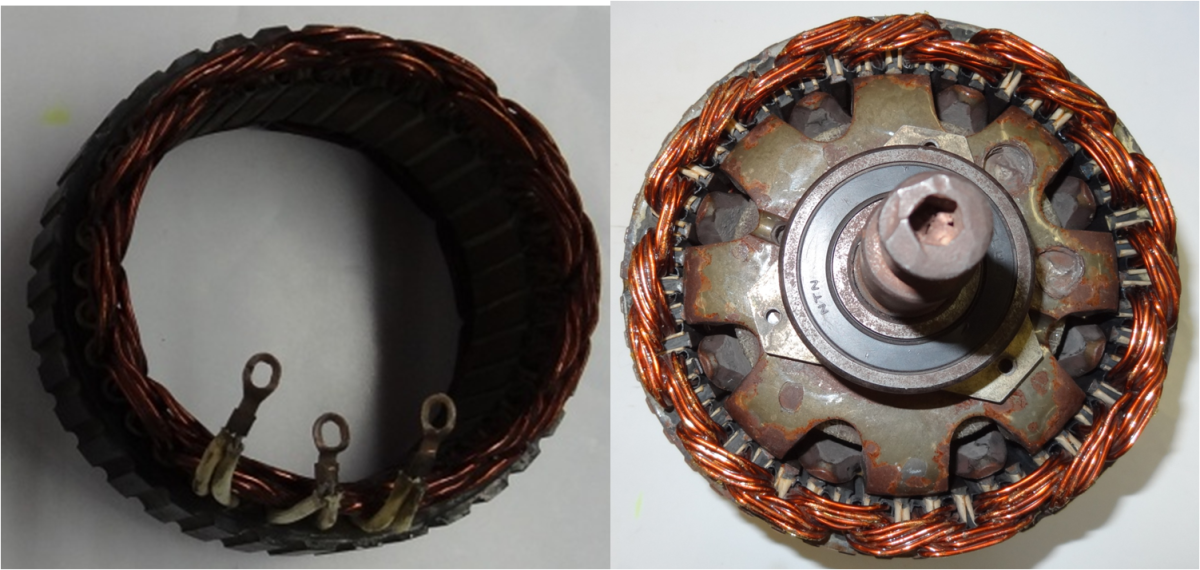The stator captures the magnetic field generated by the rotor. Note the three connections. There is a very close fit between the rotor and stator.