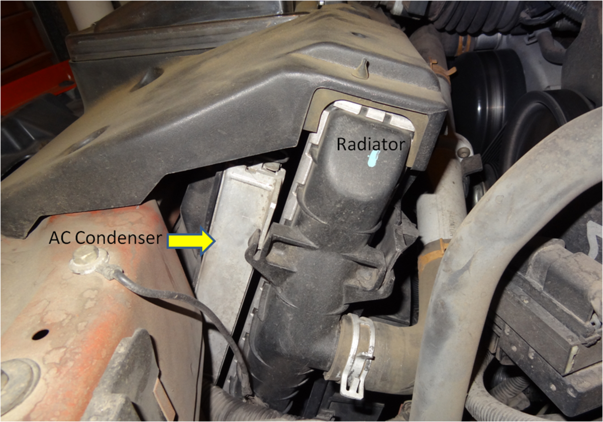 The AC Condenser sits in front of the radiator. Depending on the model, the grill and radiator may have to be removed.