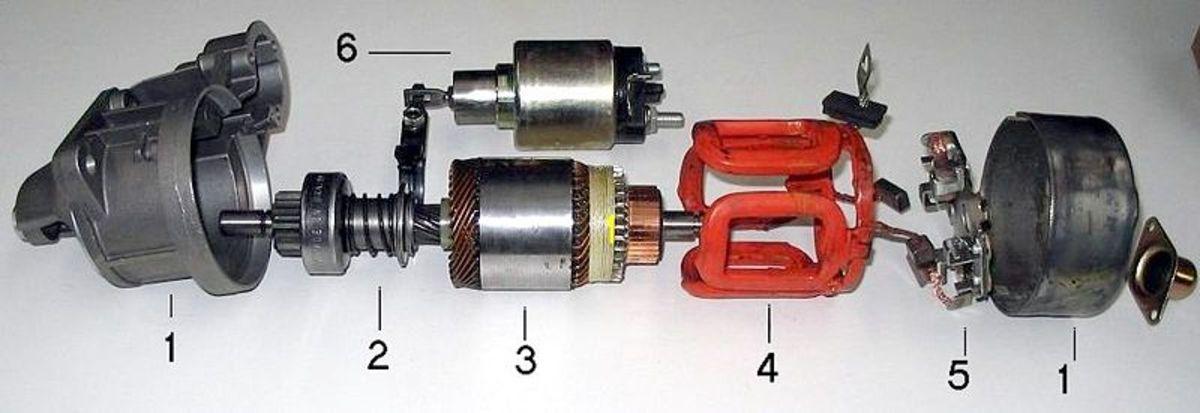 Automotive starter motor components.