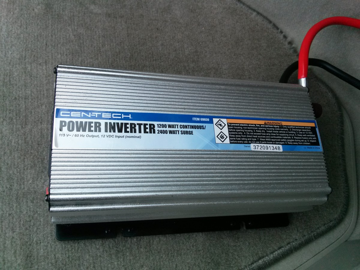 A 1200 watt continuous inverter sold by Harbor Freight.