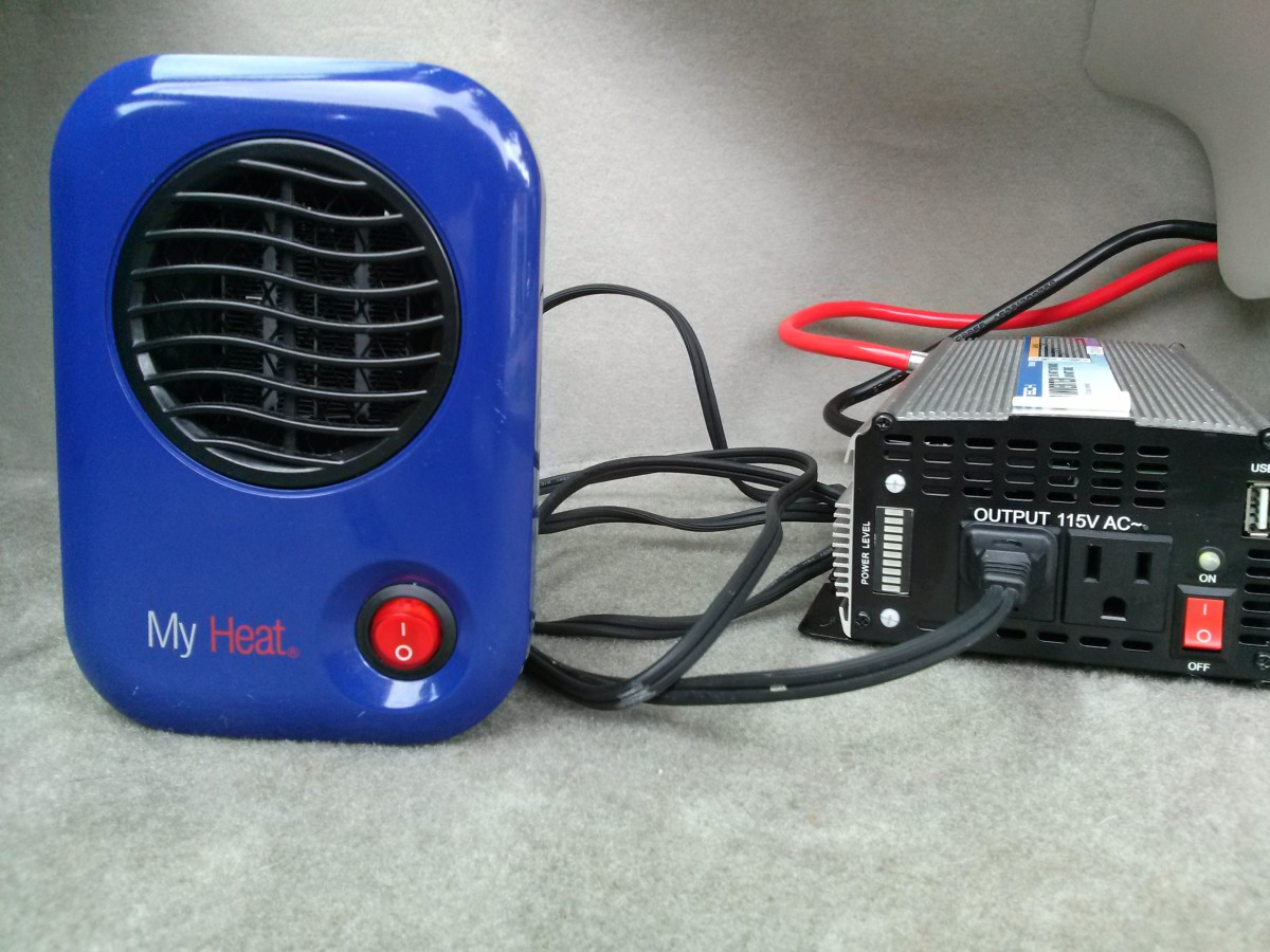 Preparing to test the inverter powering a small (200 watt) personal space heater.