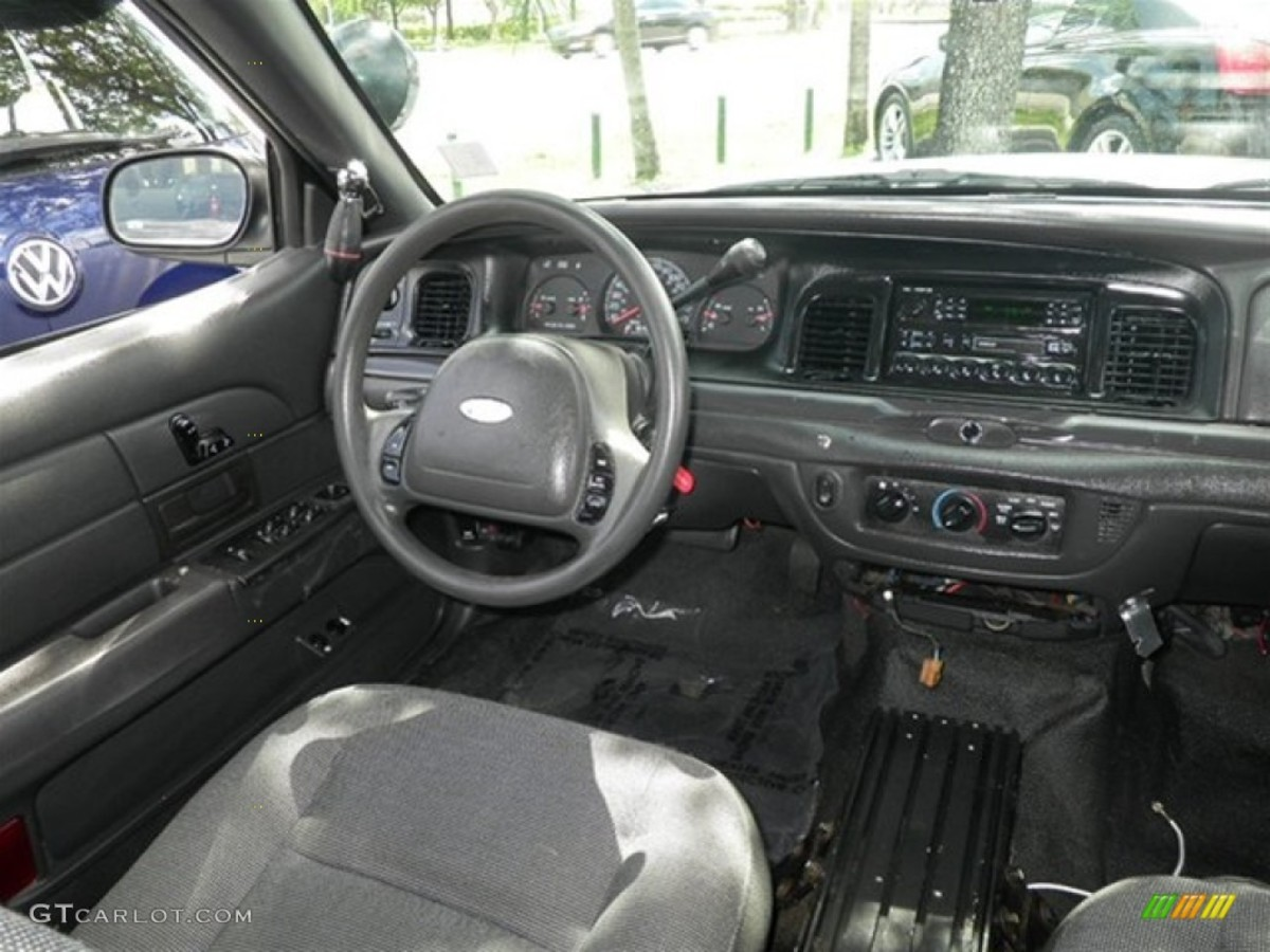 A typical interior of a retired police car.