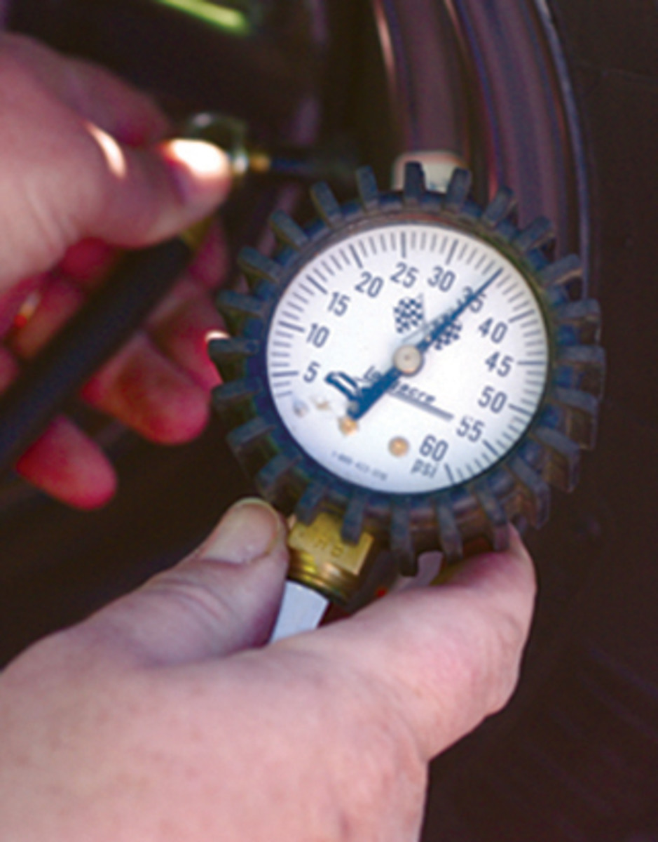 Use a quality tire gauge to check tire air pressure.