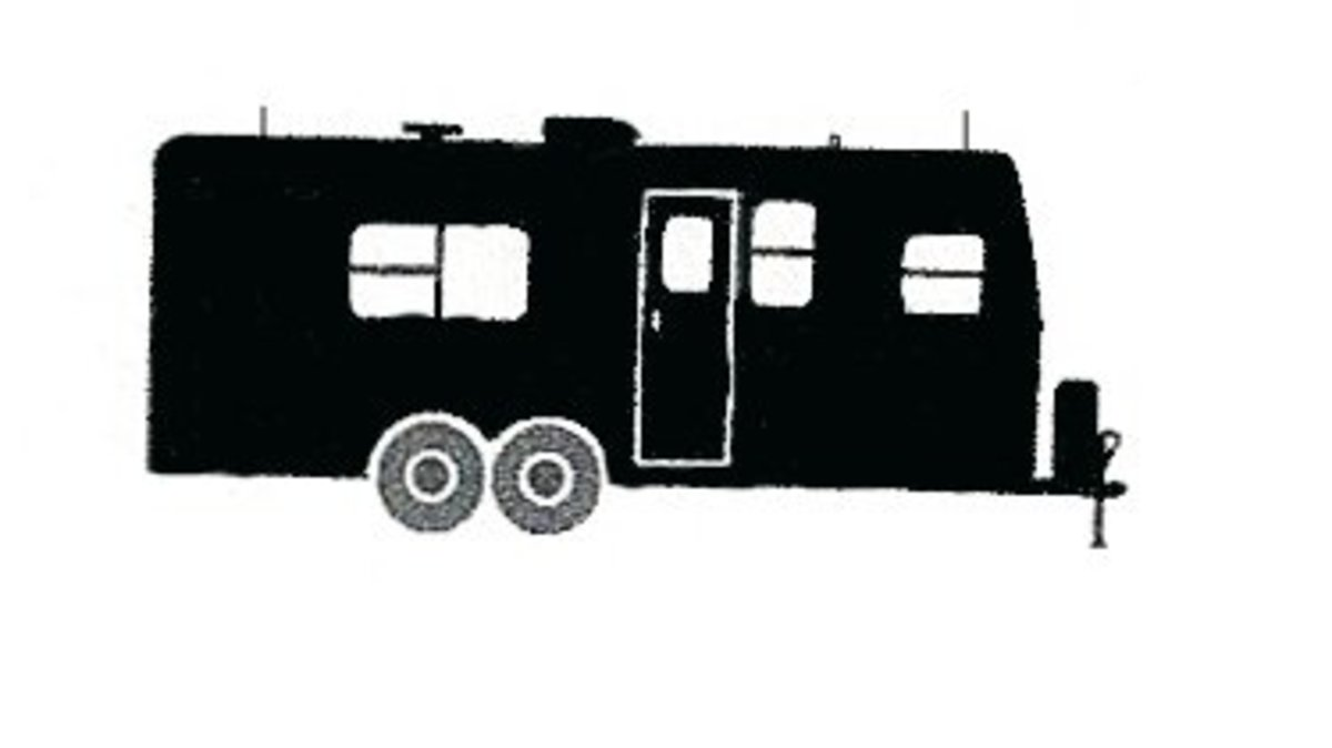Towable travel-trailer style of camper, sometimes referred to as a mobile home.