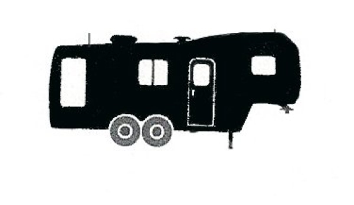 The distinct shape of a typical fifth-wheel camper.