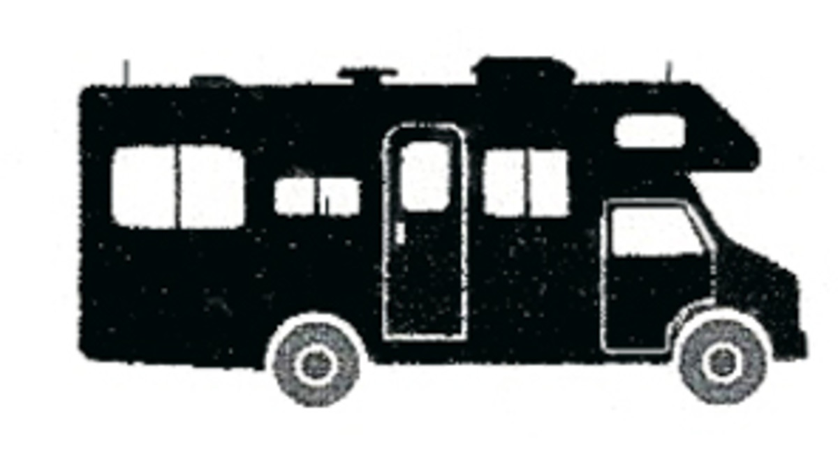 """Outline of a Class C Motorhome, built using the chassis and drive train of a """"delivery style"""" truck."""