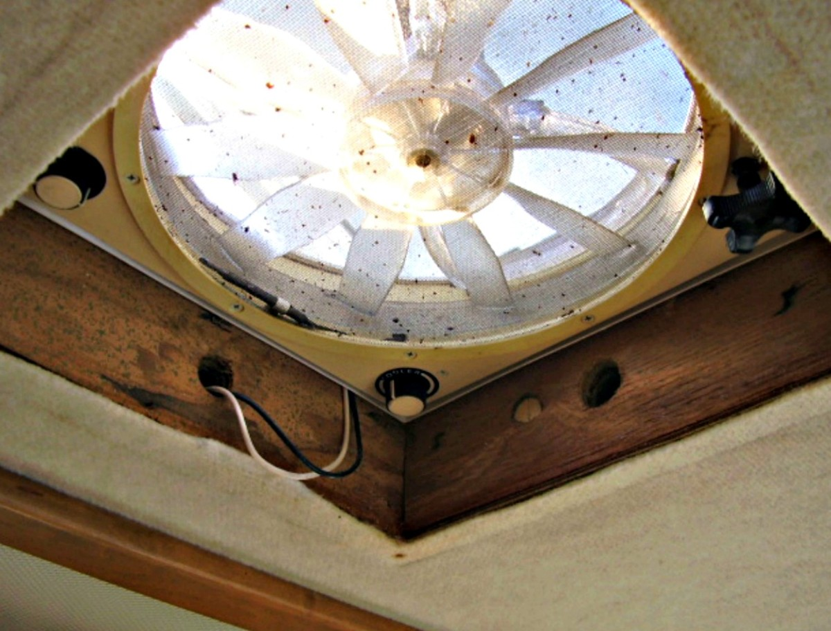 A water leak has caused wood rot beneath this fantastic fan that appeared only as a ceiling stain originally.