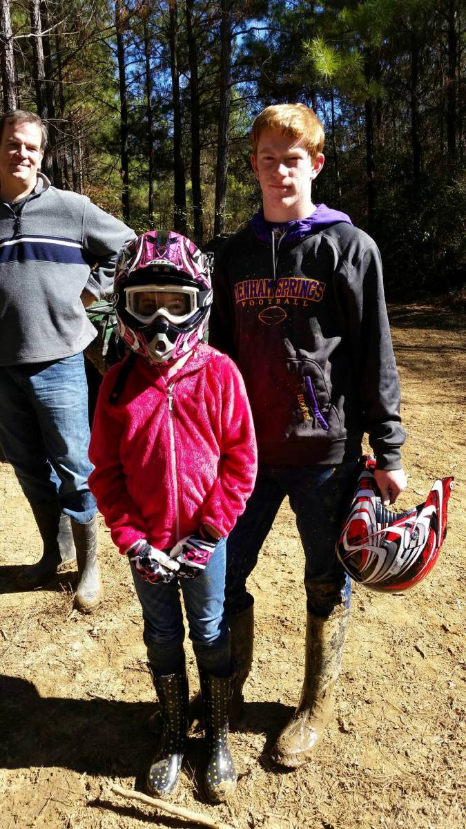 My son and daughter ready to hit the trails.
