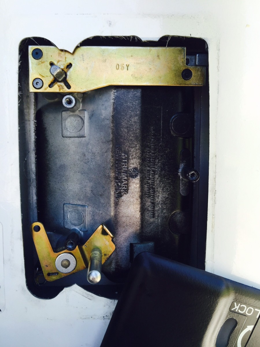 Inner view of RV Door Lock with inner assembly removed