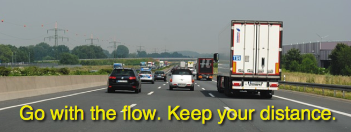 A safe distance requires one car length per 10 mph, or a 3-second following distance.