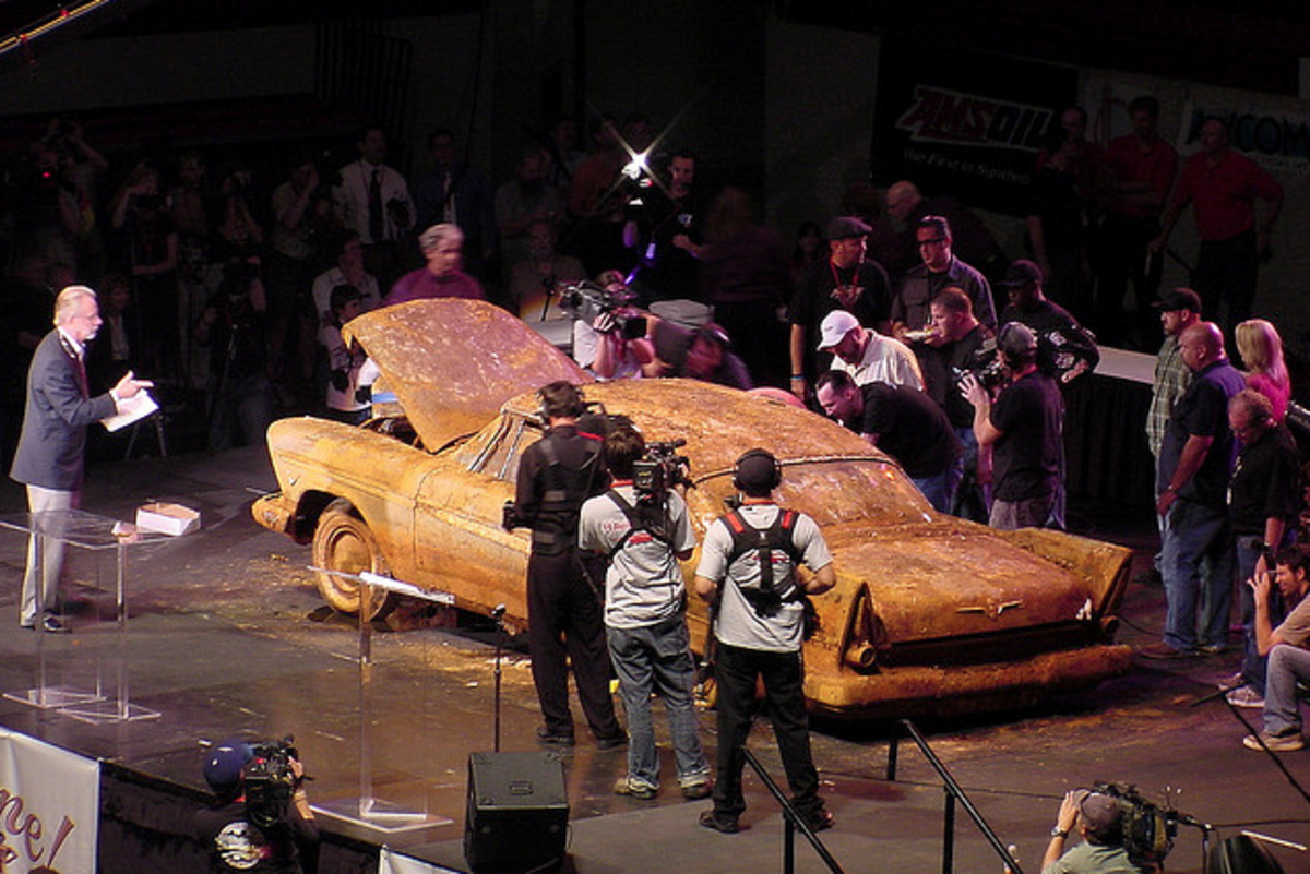 Miss Belvedere at her unveiling. The car sits low at the rear due to her rear springs rusted clean through, dropping the body to the frame.