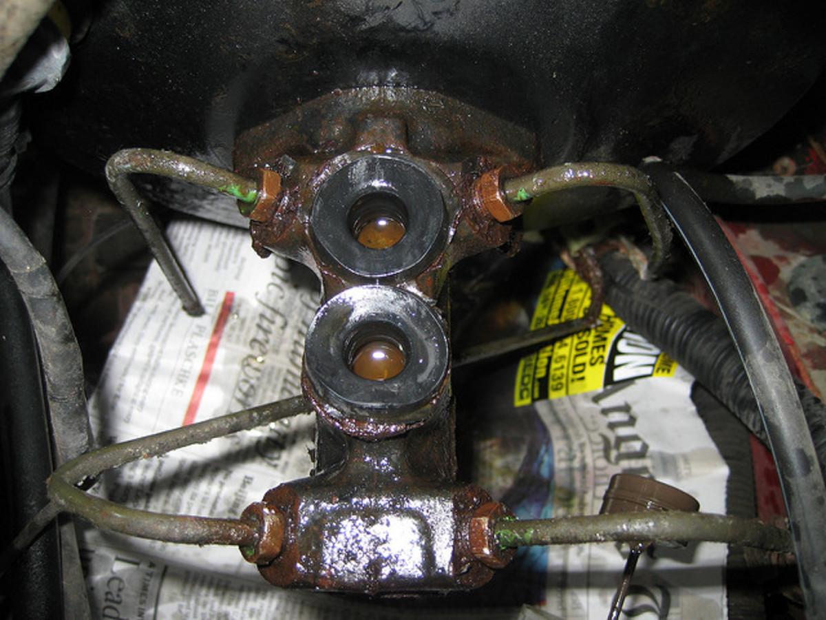 A brake master cylinder can leak internally or externally.