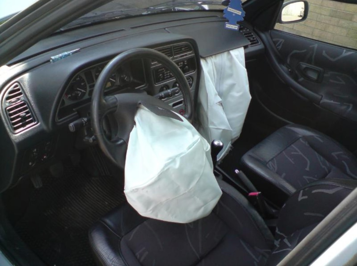 Airbags deployed in a car