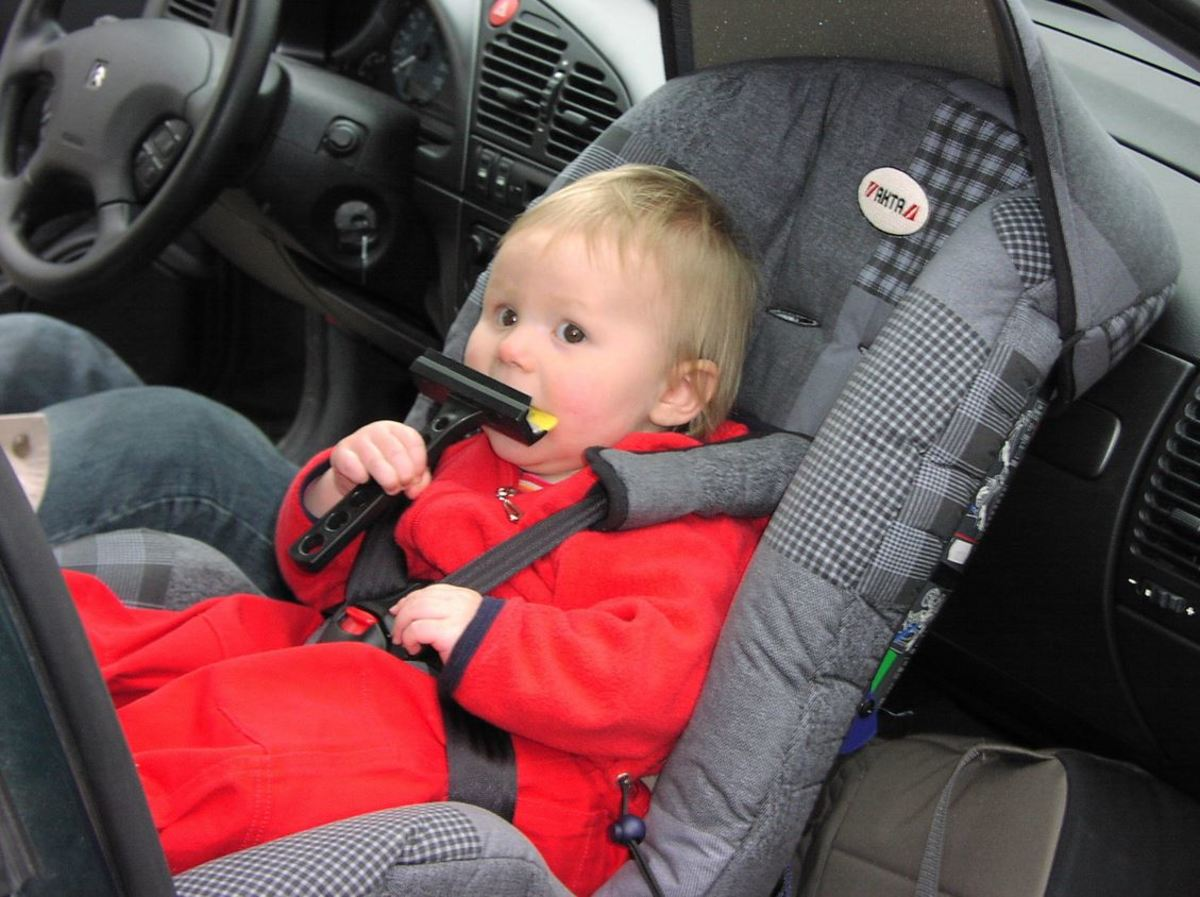 Although rear-facing infant car seats are deemed safest, they should NEVER be placed in the front seat of the vehicle!