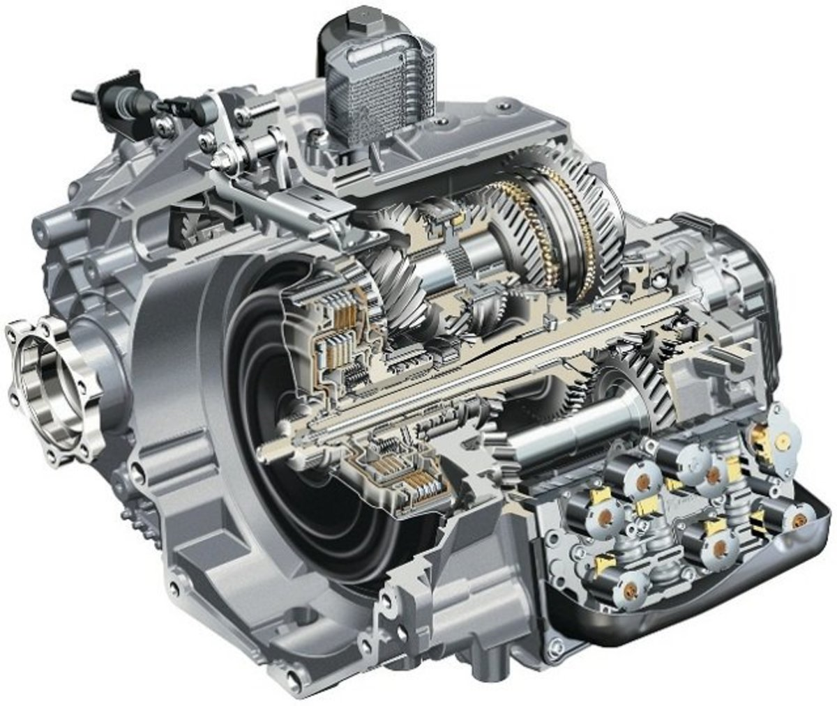 A cutaway image of a dual clutch transmission.