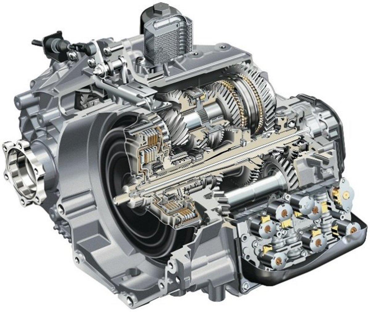 A cutaway image of a dual clutch transmission.