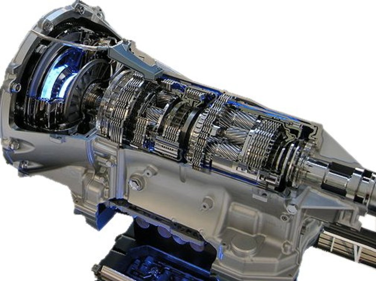 A cutaway display of an automatic transmission.
