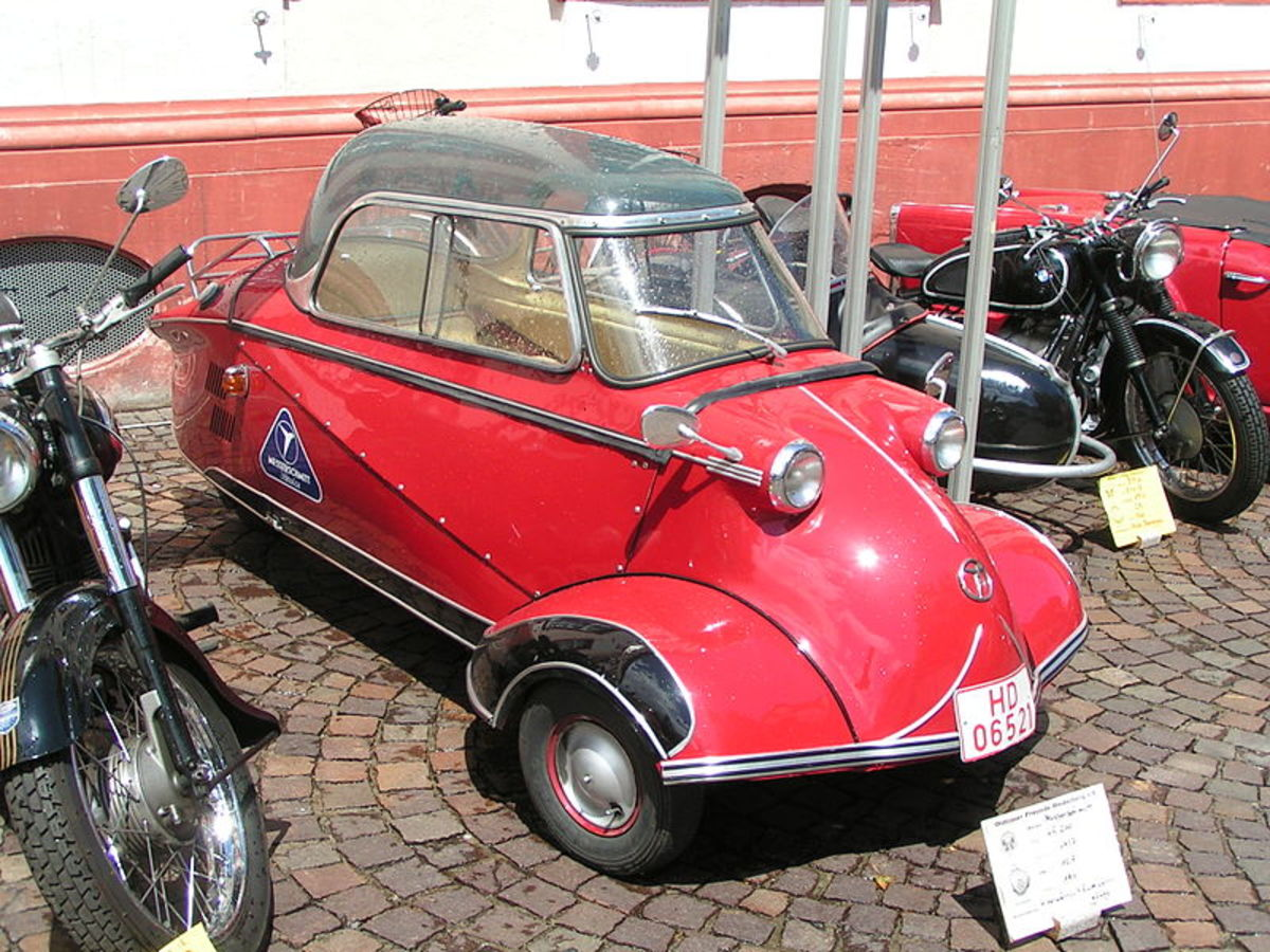 Messerschmitt bubble cars were popular in Europe in the 1950s and 1960s and got 100 mpg.