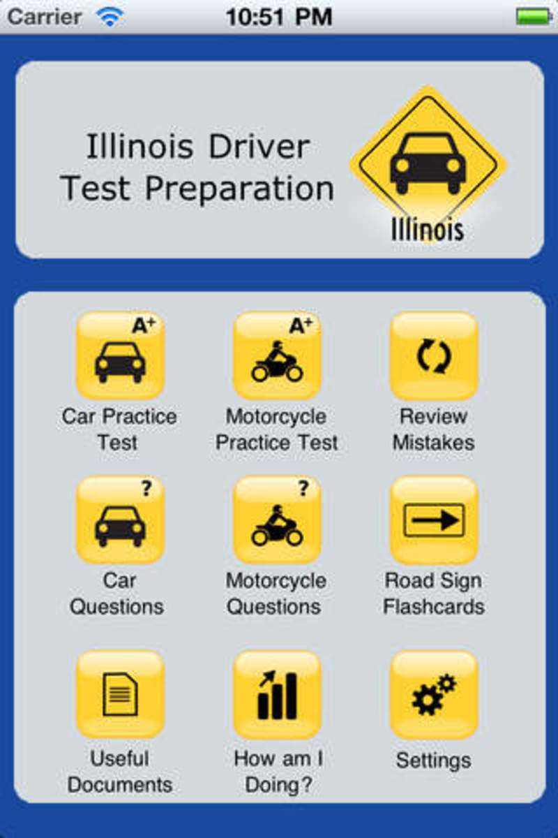 Illinois' cyberdriveillinois.com, iTunes, and Google Play all offer free practice written exam apps for refreshing your memory.