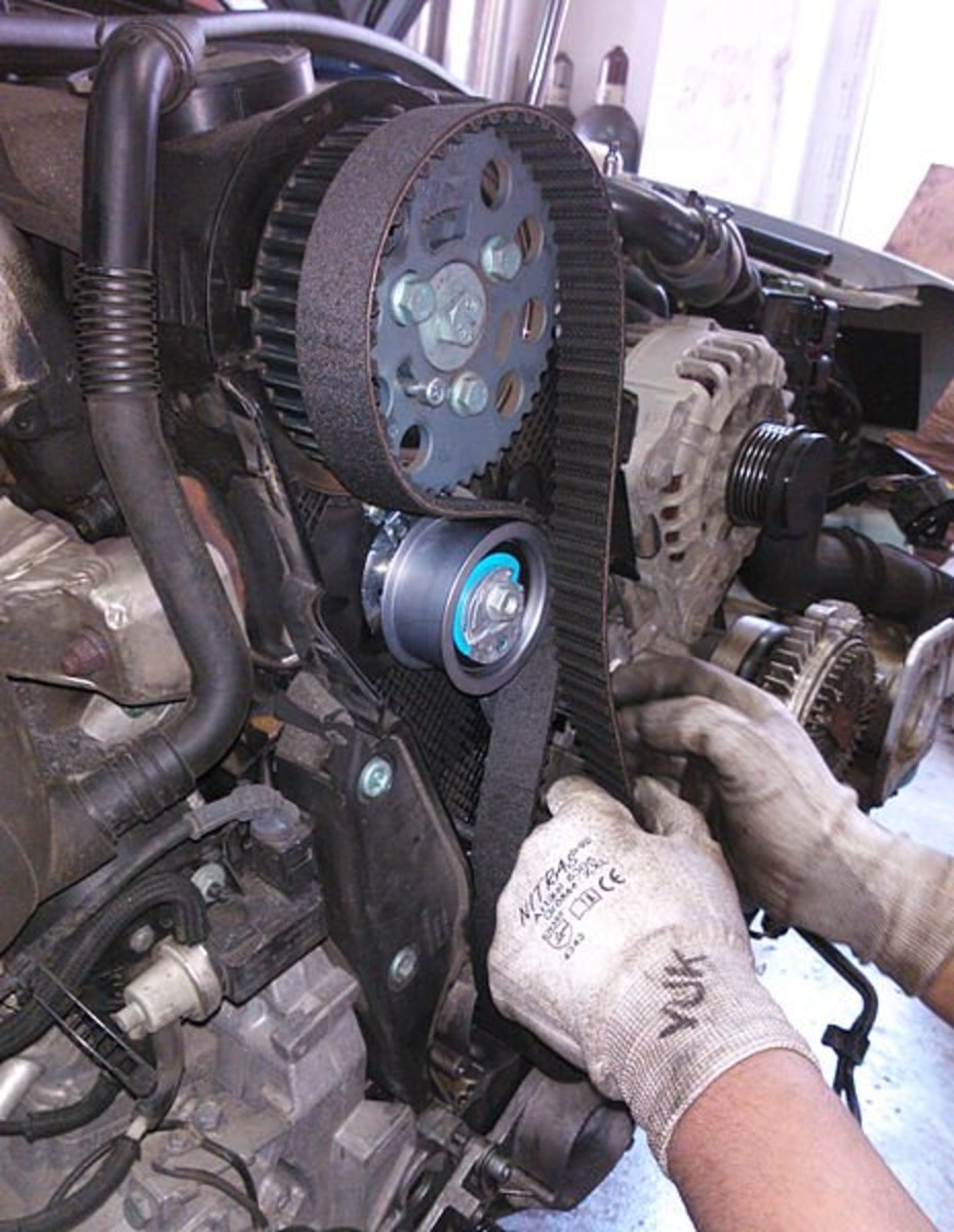 Replace the timing belt if you need to remove it to access the water pump or when it gets contaminated with coolant.