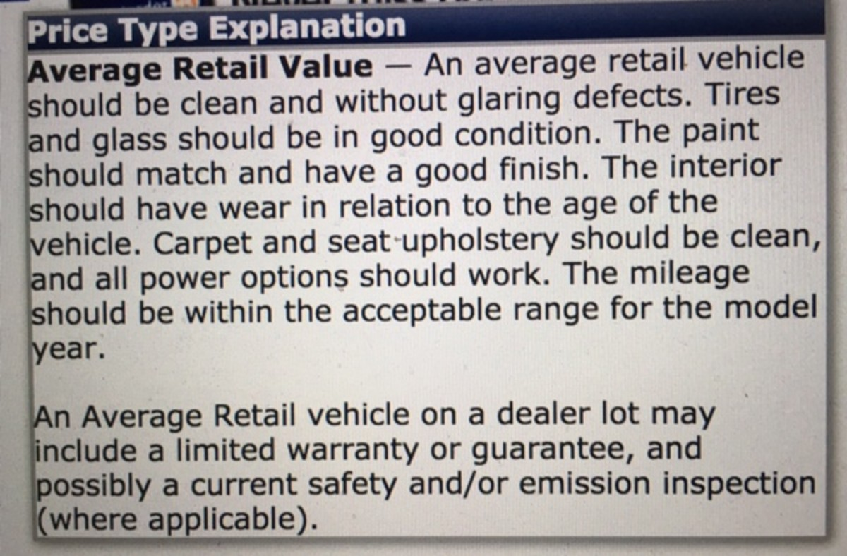Snapshot of the NADA definition of what Average Retail means