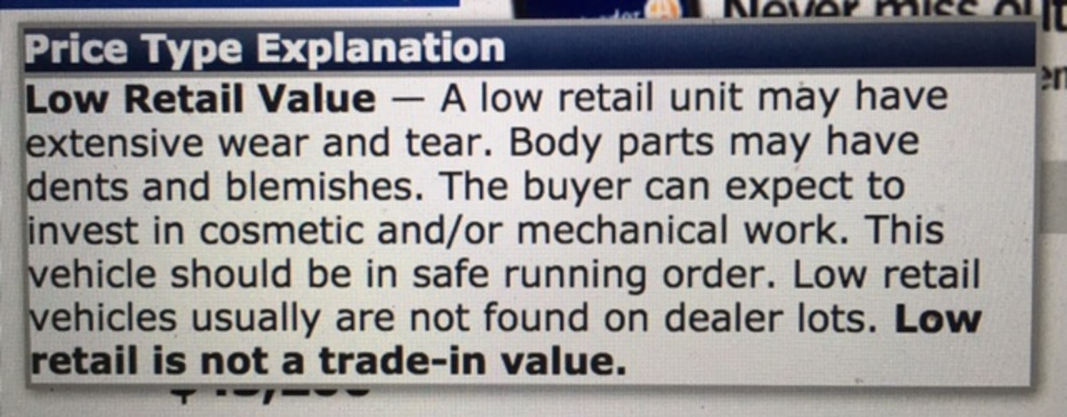 Snapshot of NADA definition of Low Retail valuations for RV's.