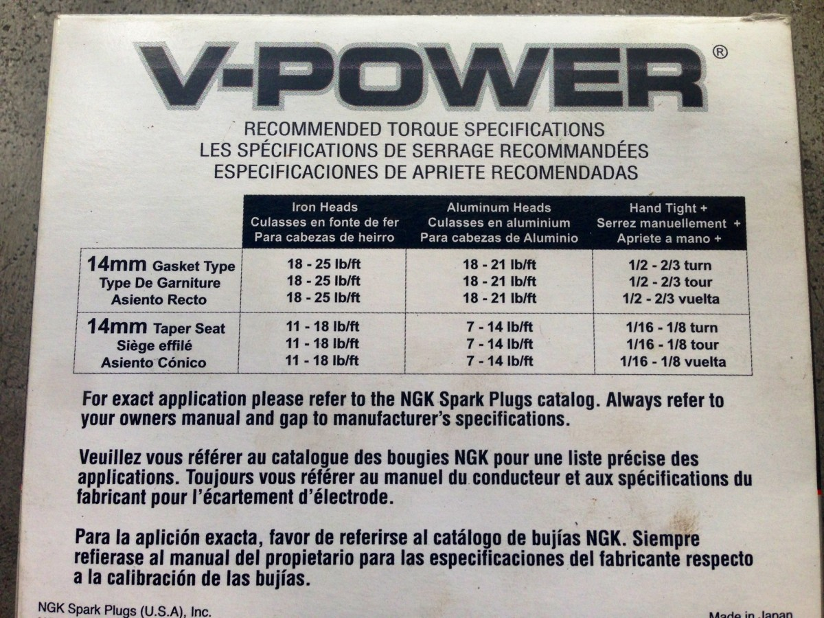 NGK spark plug-installing suggestions. Check your manual or online community to find your specs.