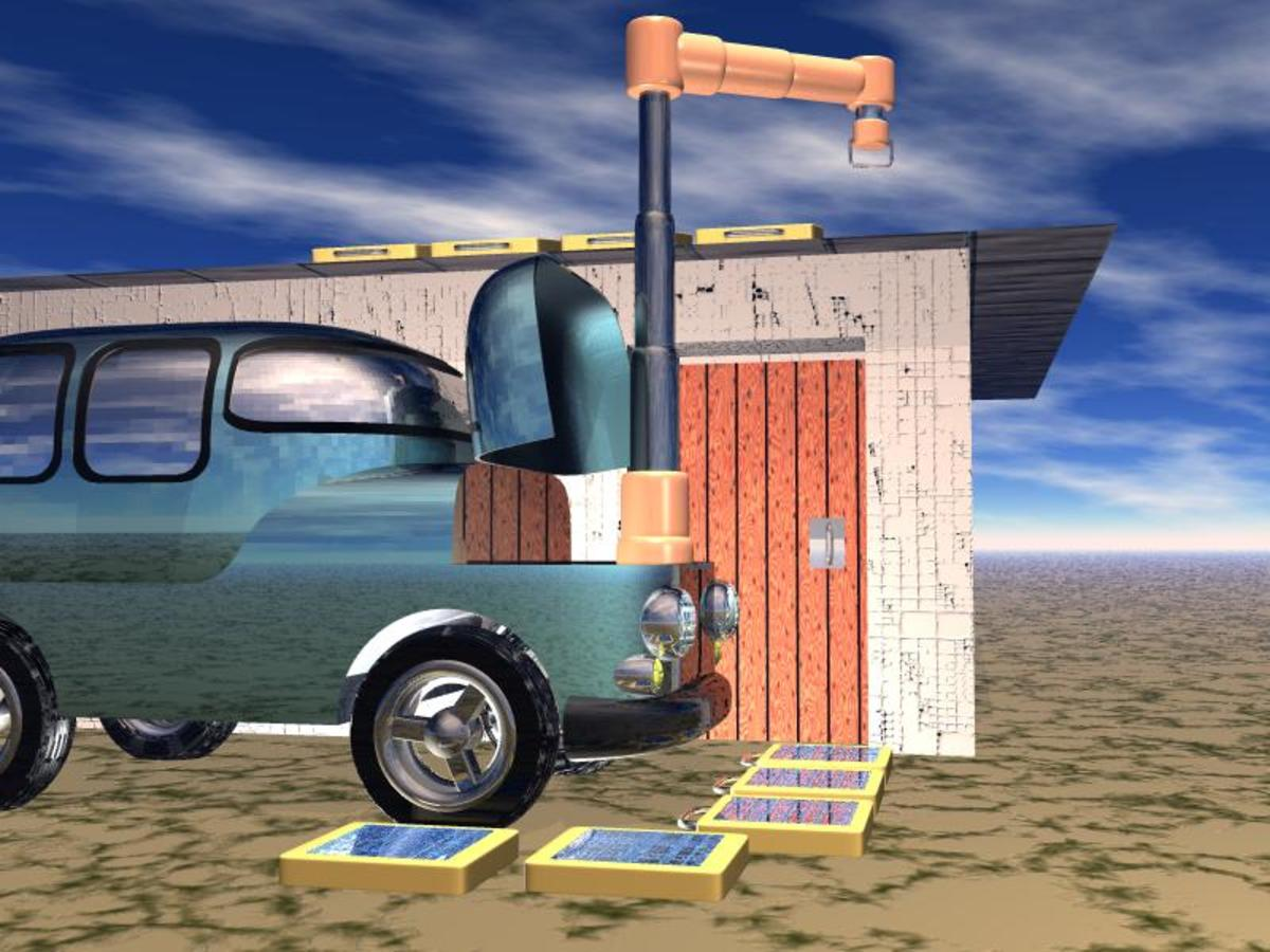 Another view of the car's robot placing solar panels on the roof of a house