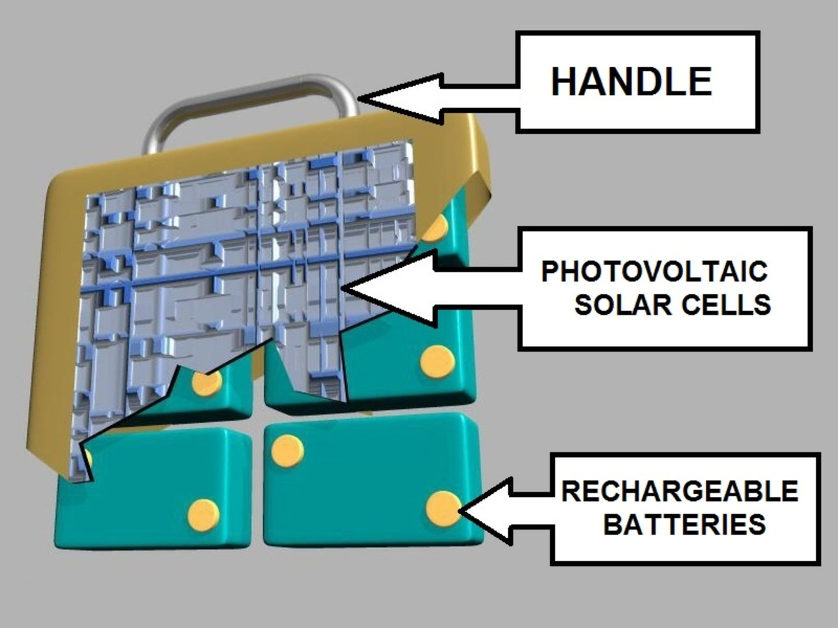 Cut-away view of one of the solar recharging modules