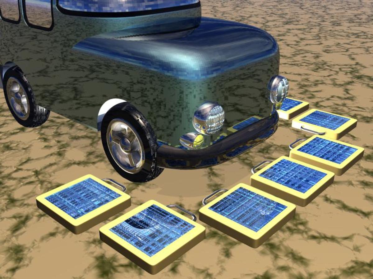 Solar recharging units on the ground