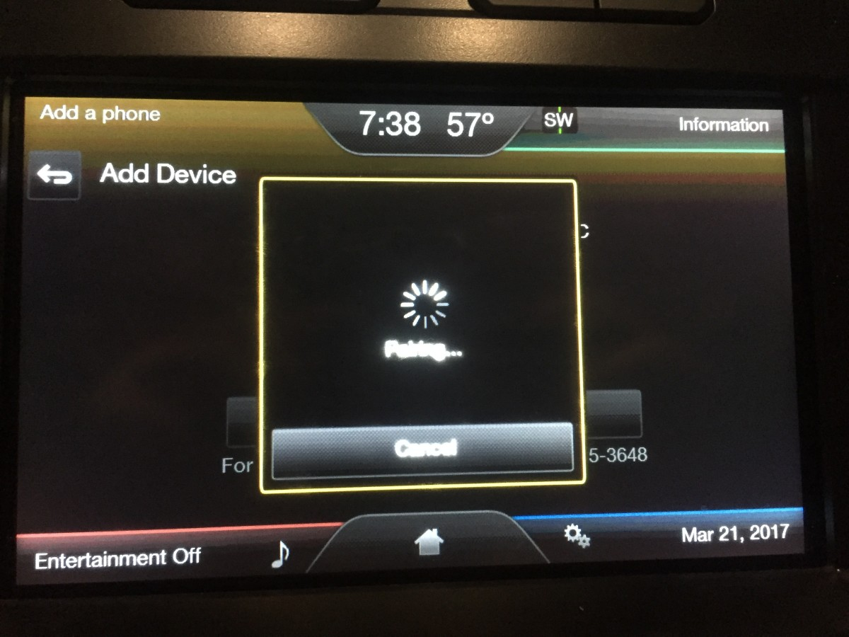 "A message appears on your vehicle's display that says ""Pairing"" after you choose to pair the devices."