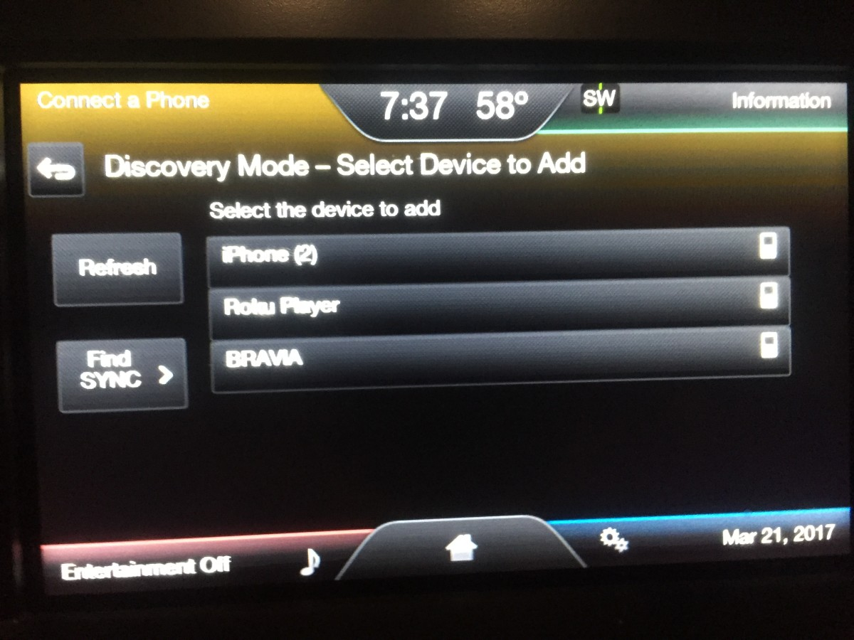 Tap the name of the phone on your Sync with MyFord Touch display that you want to pair the system with.