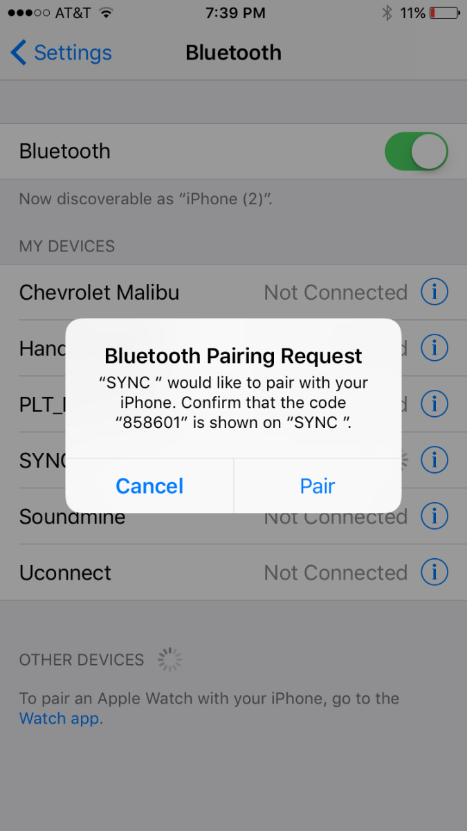 "Tap ""Pair in the dialog box that appears on your phone after validating that the number matches what's presented on your vehicle's display."