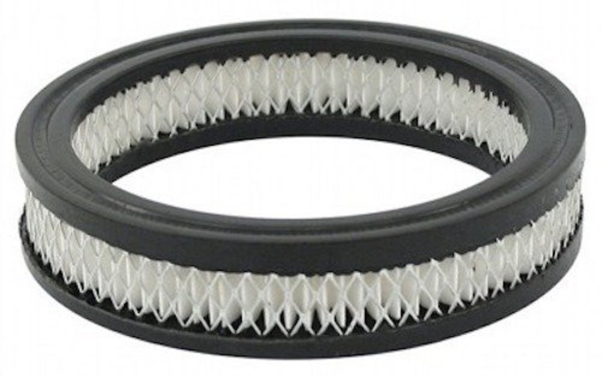 A clogged air filter will reduce engine power.