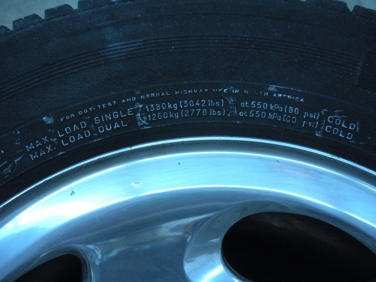 Maximum load data is also given on each tire.  This applies to the entire weight being carried, including the vehicle itself.