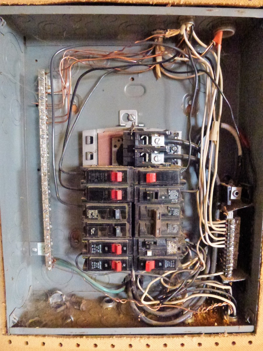 Inside a panel.  This panel has no main breaker.  The ground bus is on the left, with the neutral bus on the right.