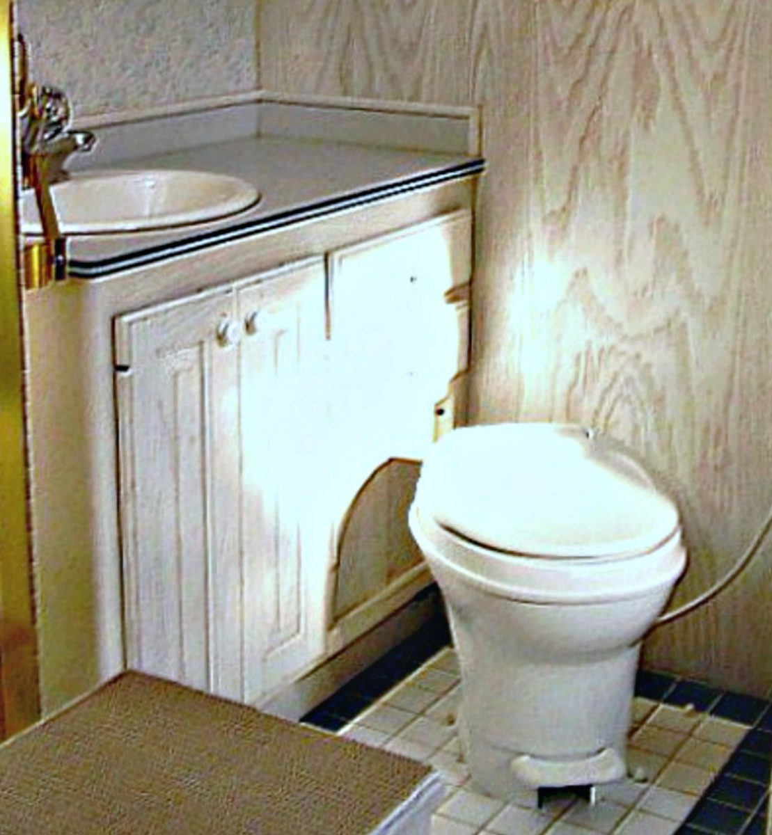 Ample counter and storage space in RV bathrooms are must haves for travelers.
