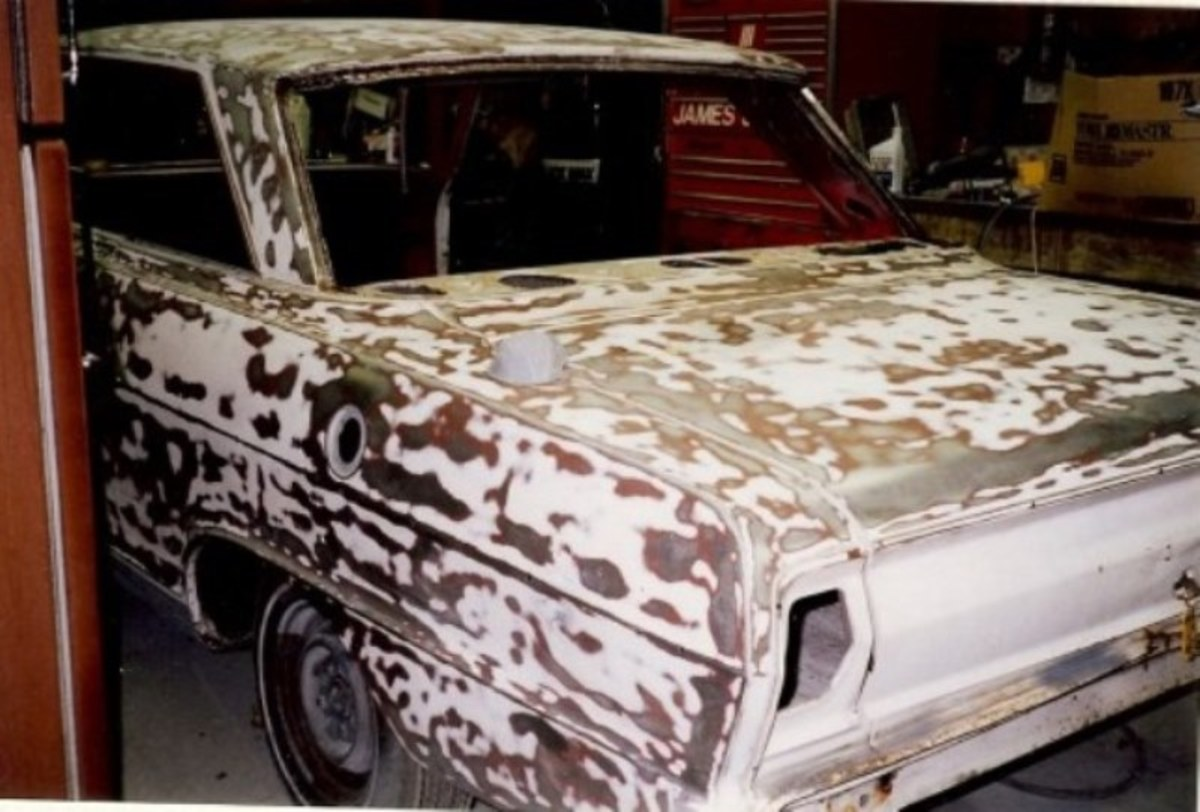 1964 Chevy 2 with a Nova package sanded down to bare metal.