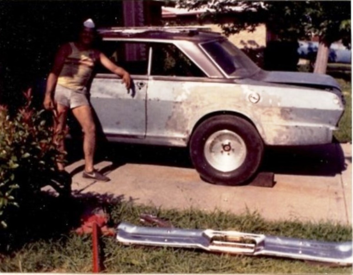 Sanded down to bare metal, the Nova was finally ready for primer.