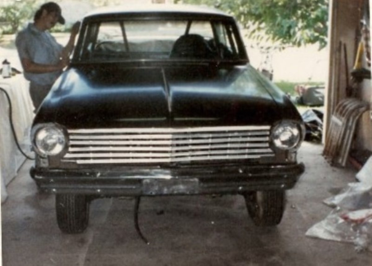 This Chevy Nova started off an ugly shade of brown. It had a roll cage but needed major work before it would make its first pass down the track.