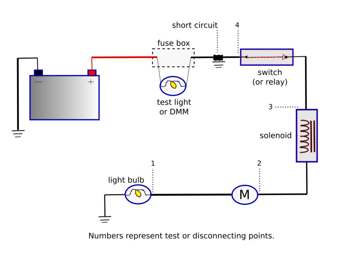 Simple wiring diagram with an electrical short.