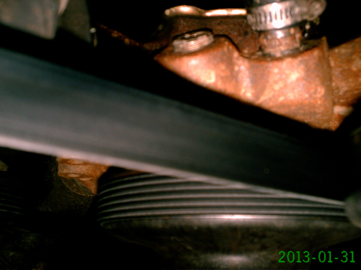 A serpentine belt running a water pump.