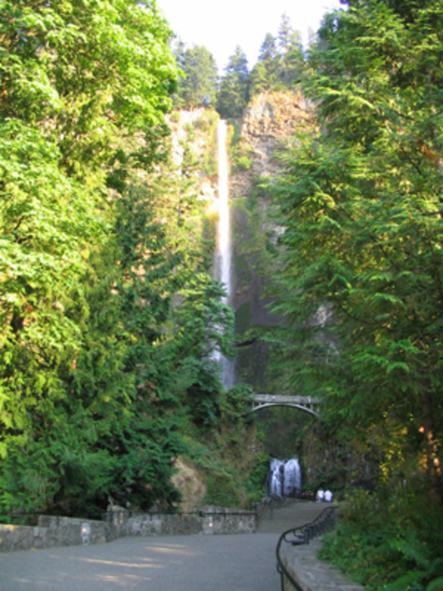 Multnomah Falls, Oregon's tallest waterfall, in the Columbia Gorge near the state's northern border.