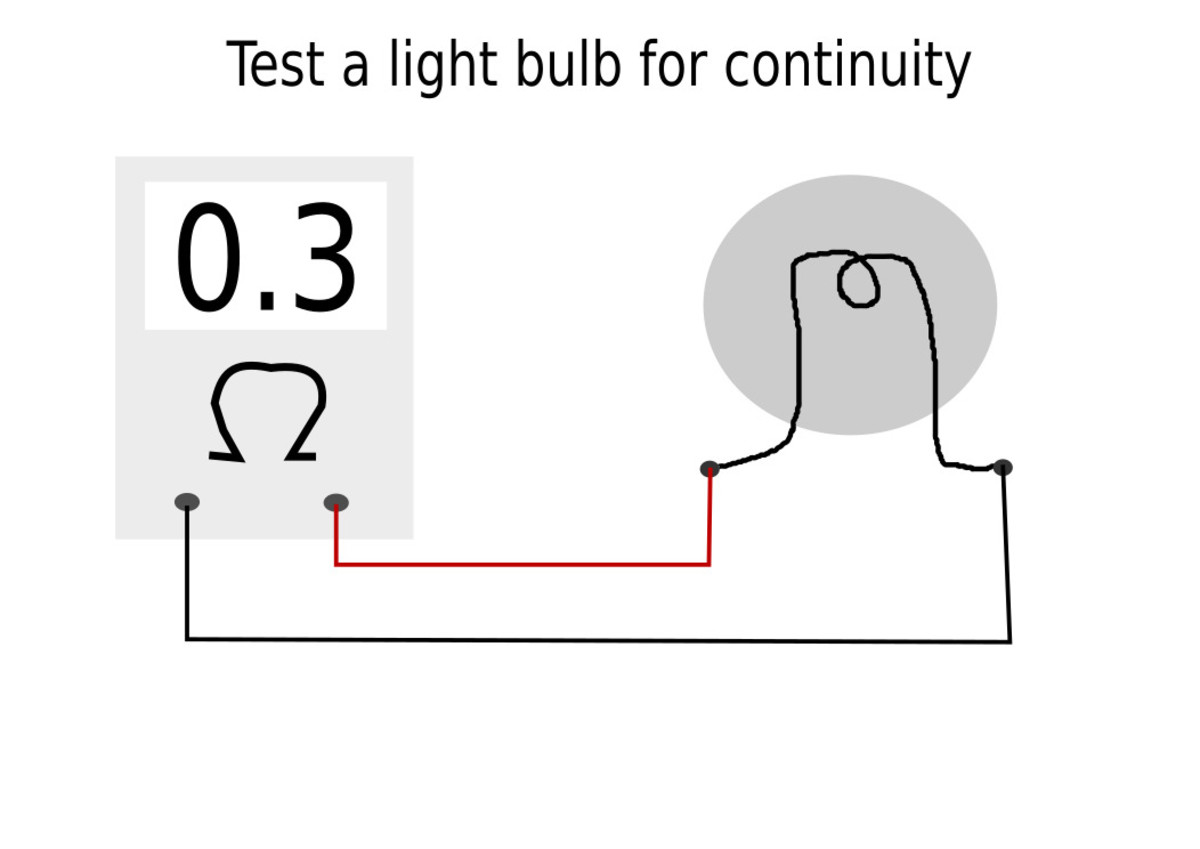 Check light bulbs with an ohmmeter.