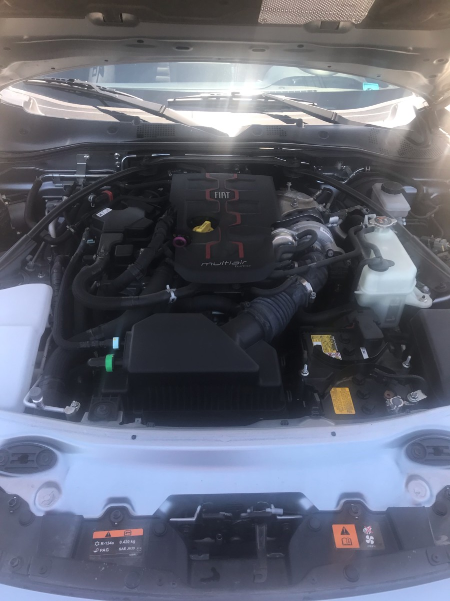 Engine Compartment of Fiat Spider Abarth