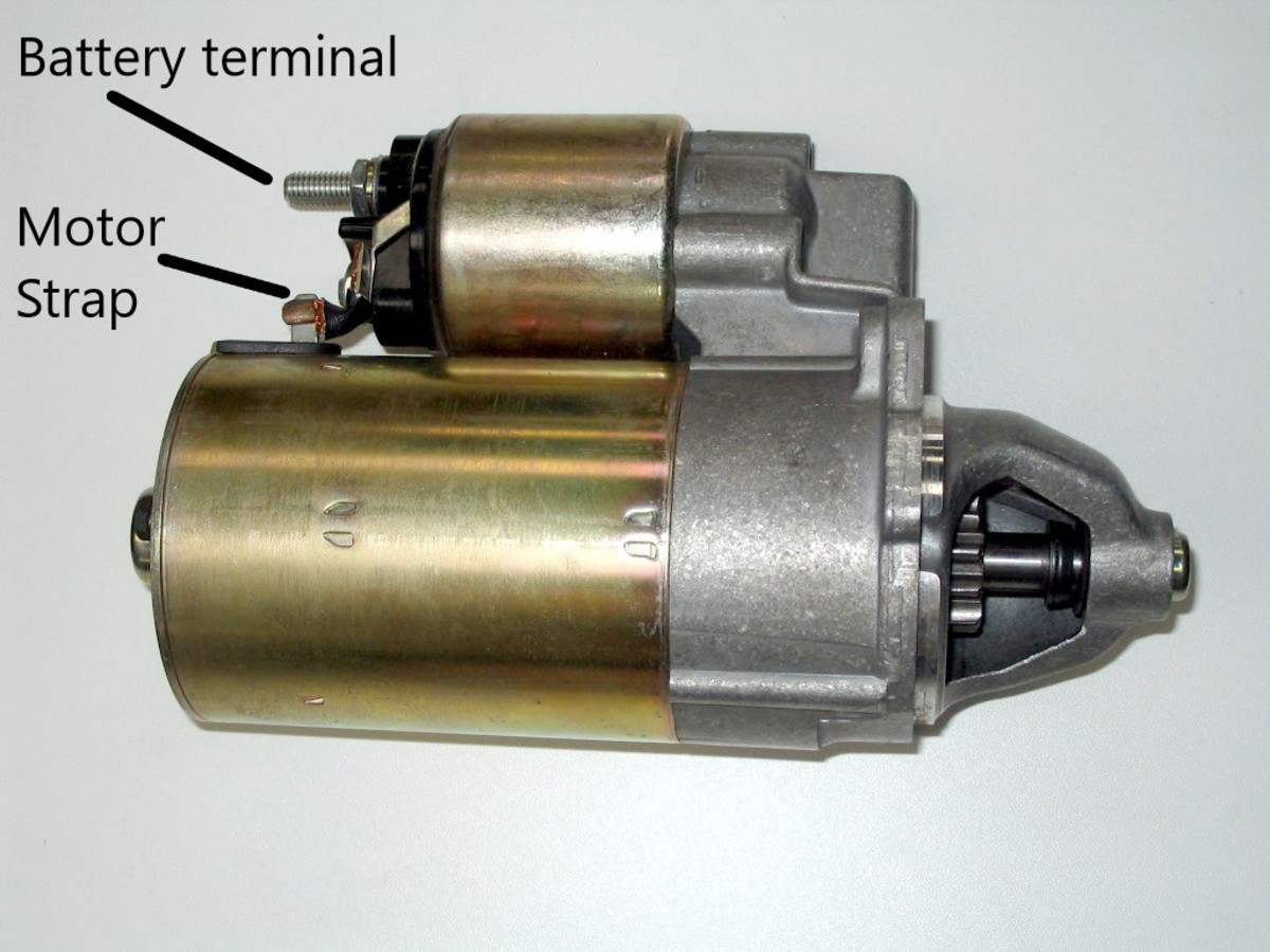An on-starter solenoid and starter motor assembly.