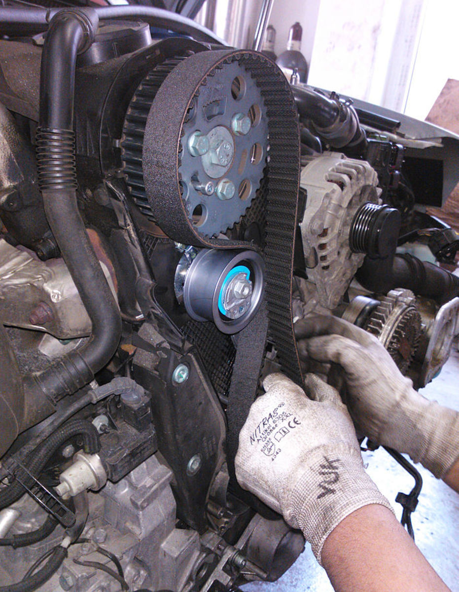 On belt-driven water pumps, like this timing belt, replace the belt at the schedule recommended by the manufacturer.