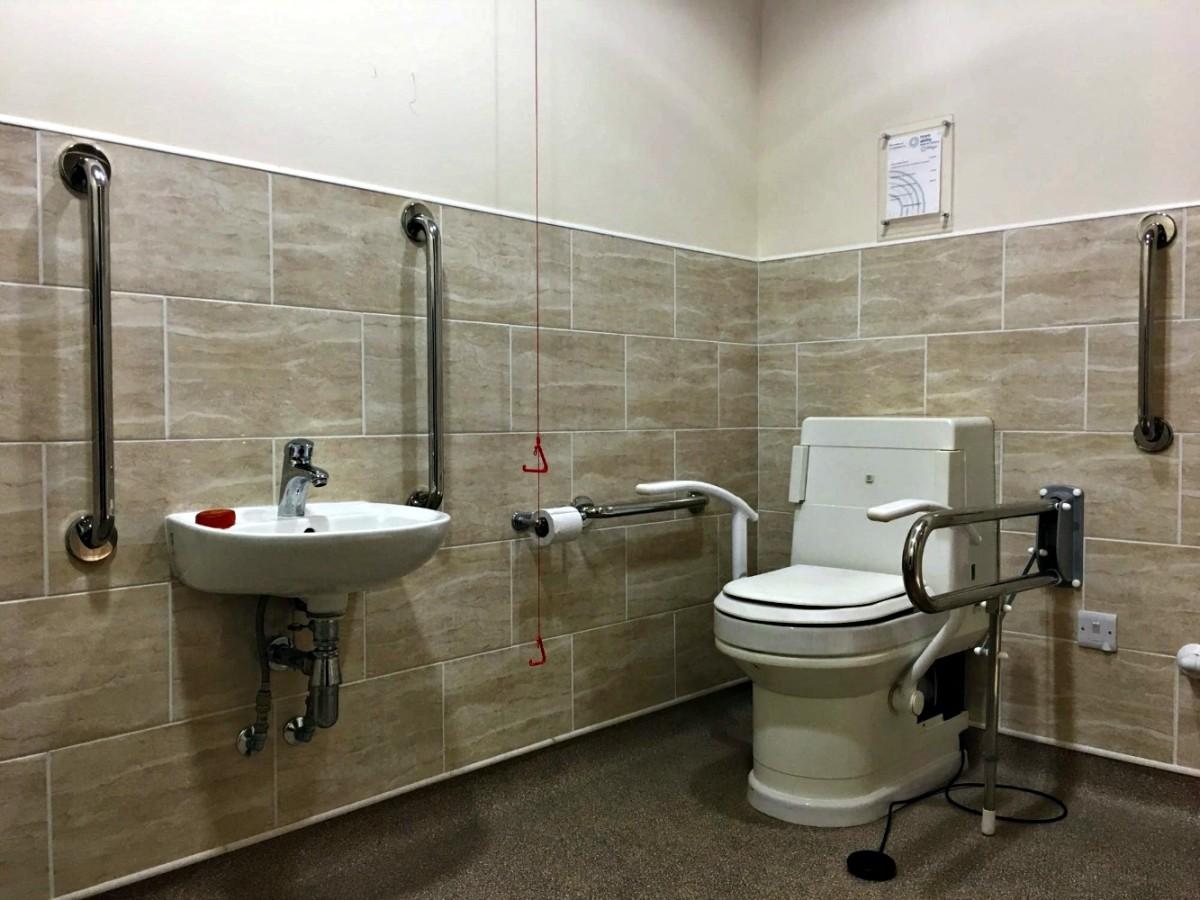 Many campgrounds have bathrooms designed especially for the disabled people who visit their parks.