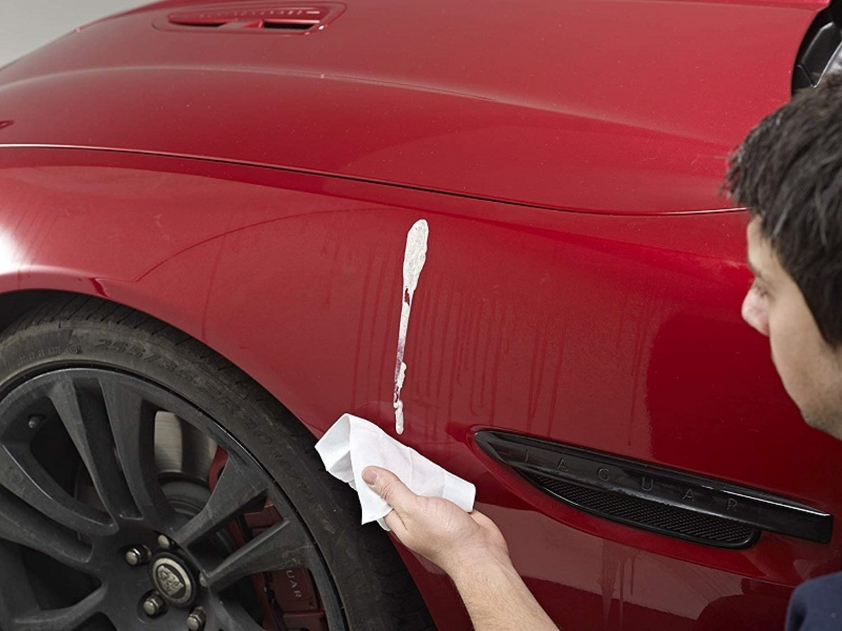 Removing poop from a car's paintwork is easy with a single use bird dropping wipe.
